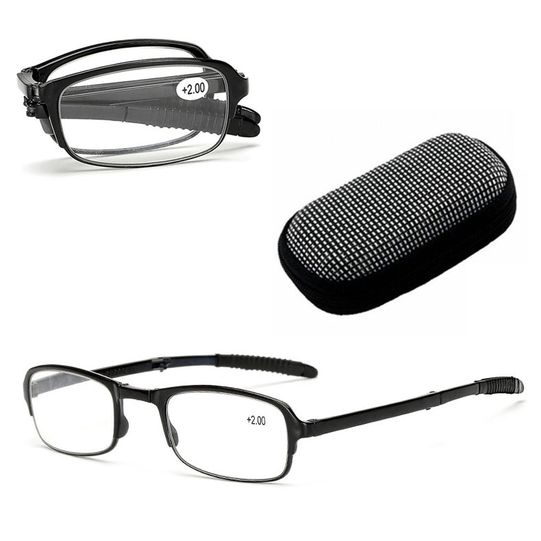7d615543ad Details about Men Women Folding Reading Glasses Rotation Eyeglass +1.5 +2.0  +2.5 +3.0 Zip Case