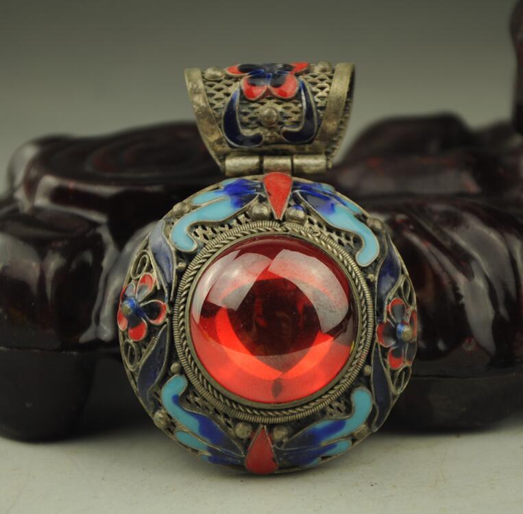 China  Handwork Old Tibet Silver Inlay Blue Jade Cloisonne Flower Pendant  AS