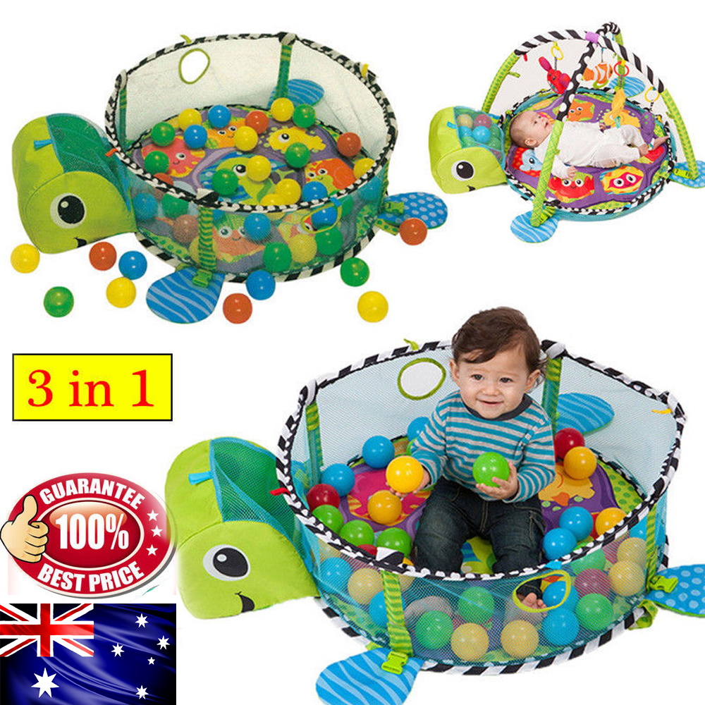 Turtle//Lion Baby Gym 3in 1 Activity Play Floor Mat Ball Pit /& Toys Baby Playmat