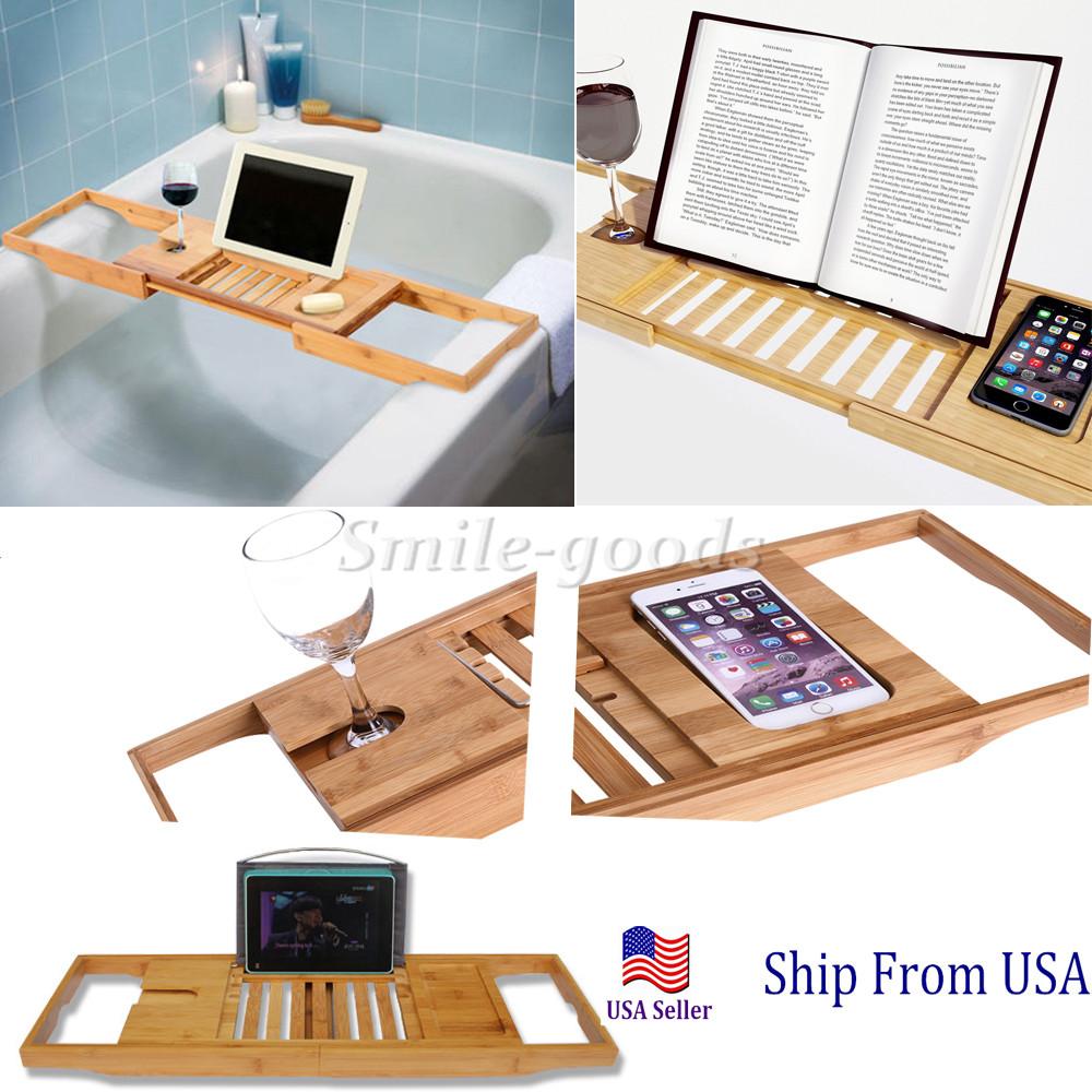 Bathtub Rack Bamboo Shelf Shower Tub Book Reading Tray Holder Stand ...