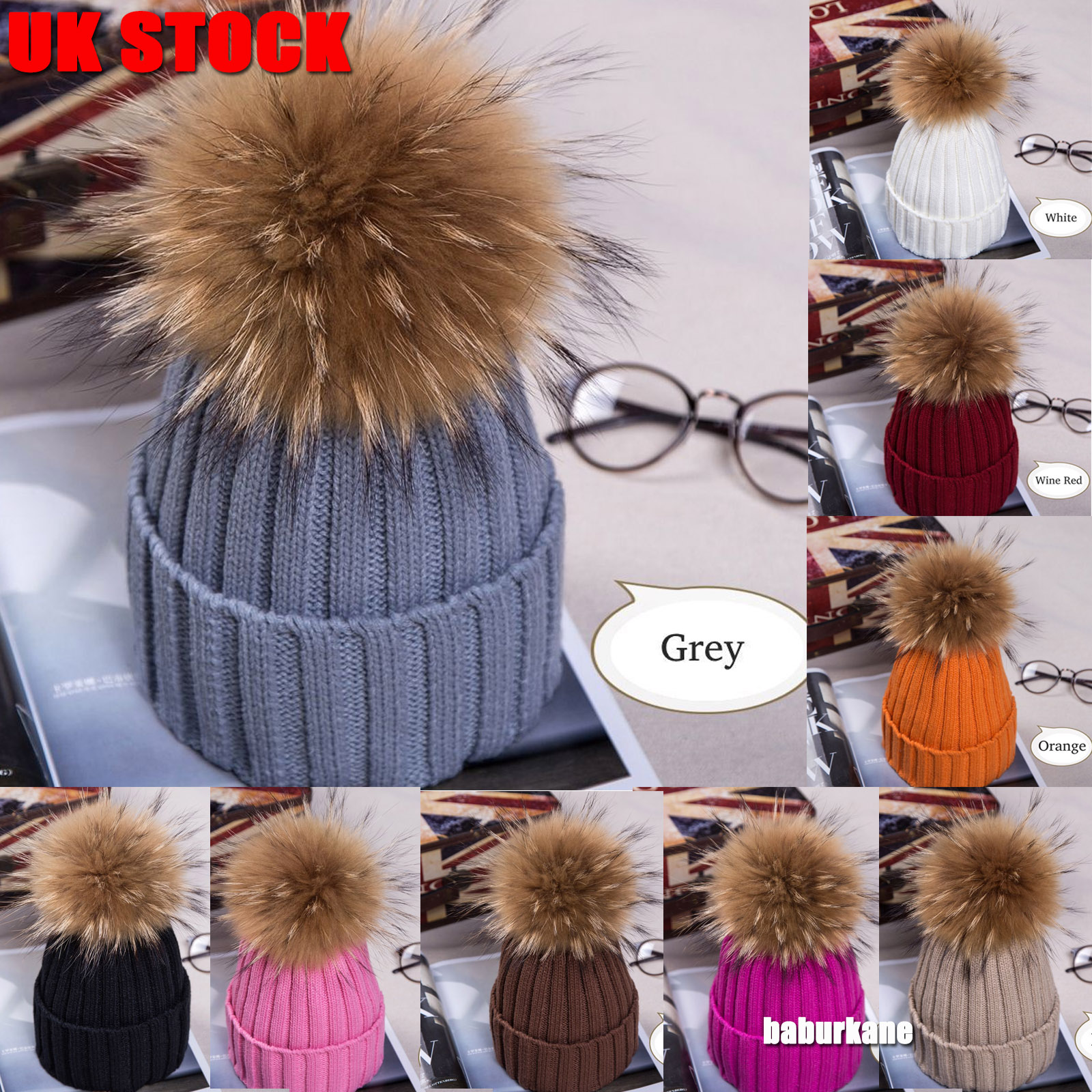 b6eec285108 Details about 2018Hot Women Winter Racoon Fur Pom Pom 15cm Ball Knit Beanie  Ski Cap Bobble Hat
