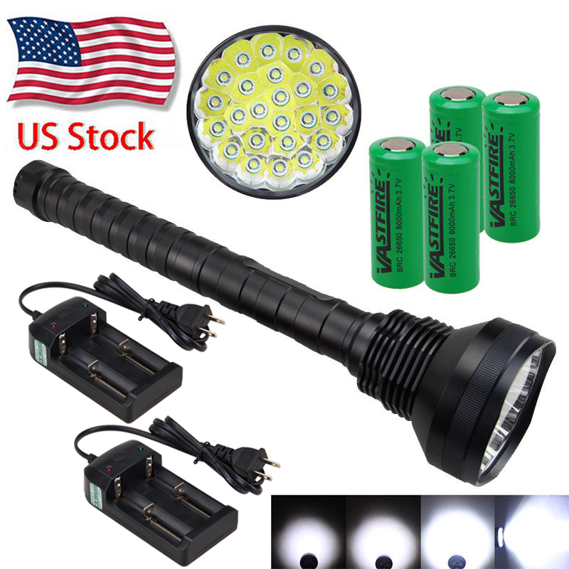 UK Stock 40000LM 5-Mode T6 LED Tactical Flashlight Zoom Torch+18650+Charger