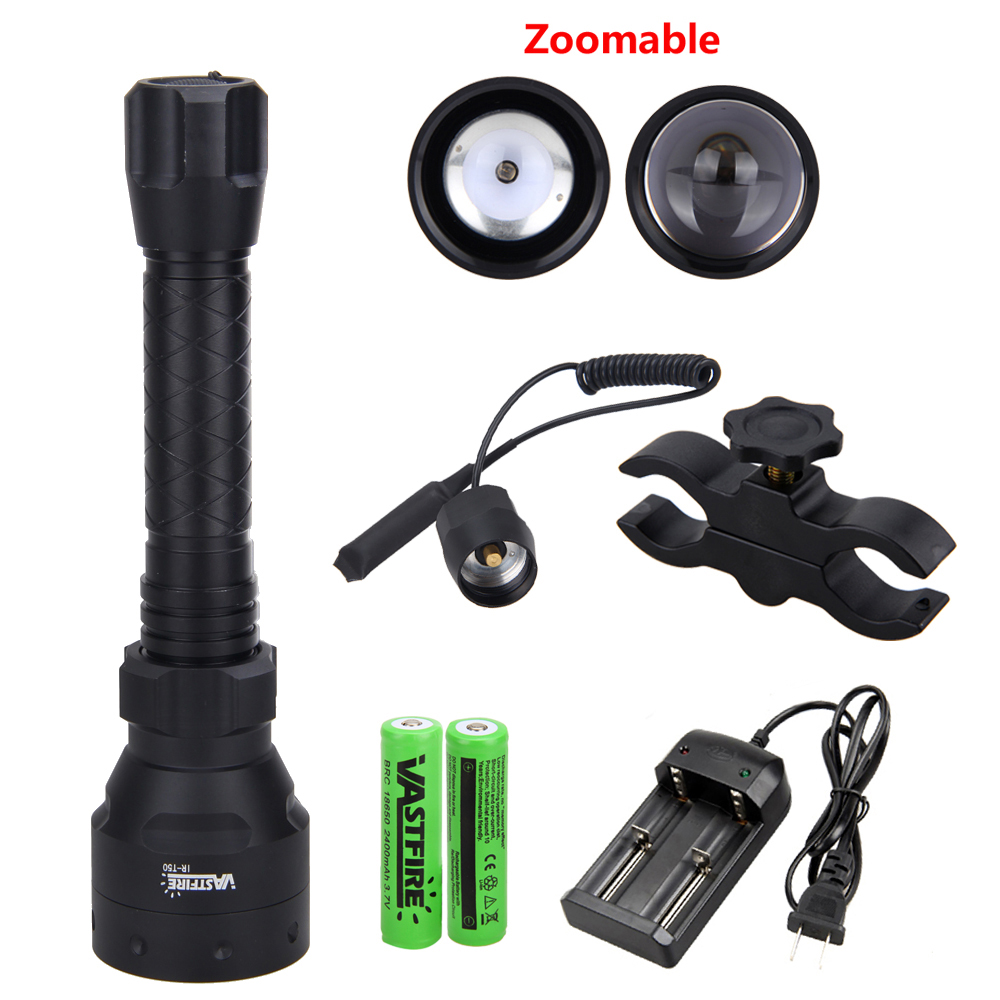 T50 Zoom Infrared Light Hunting Torch 850nm IR Night Vision Torch Mount//18650//CH