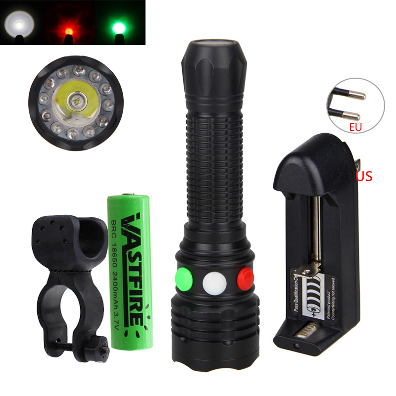 3 in 1 Bright Q5 White Red Green LED Flashlight Railway Strobe Signal Lamp 18650