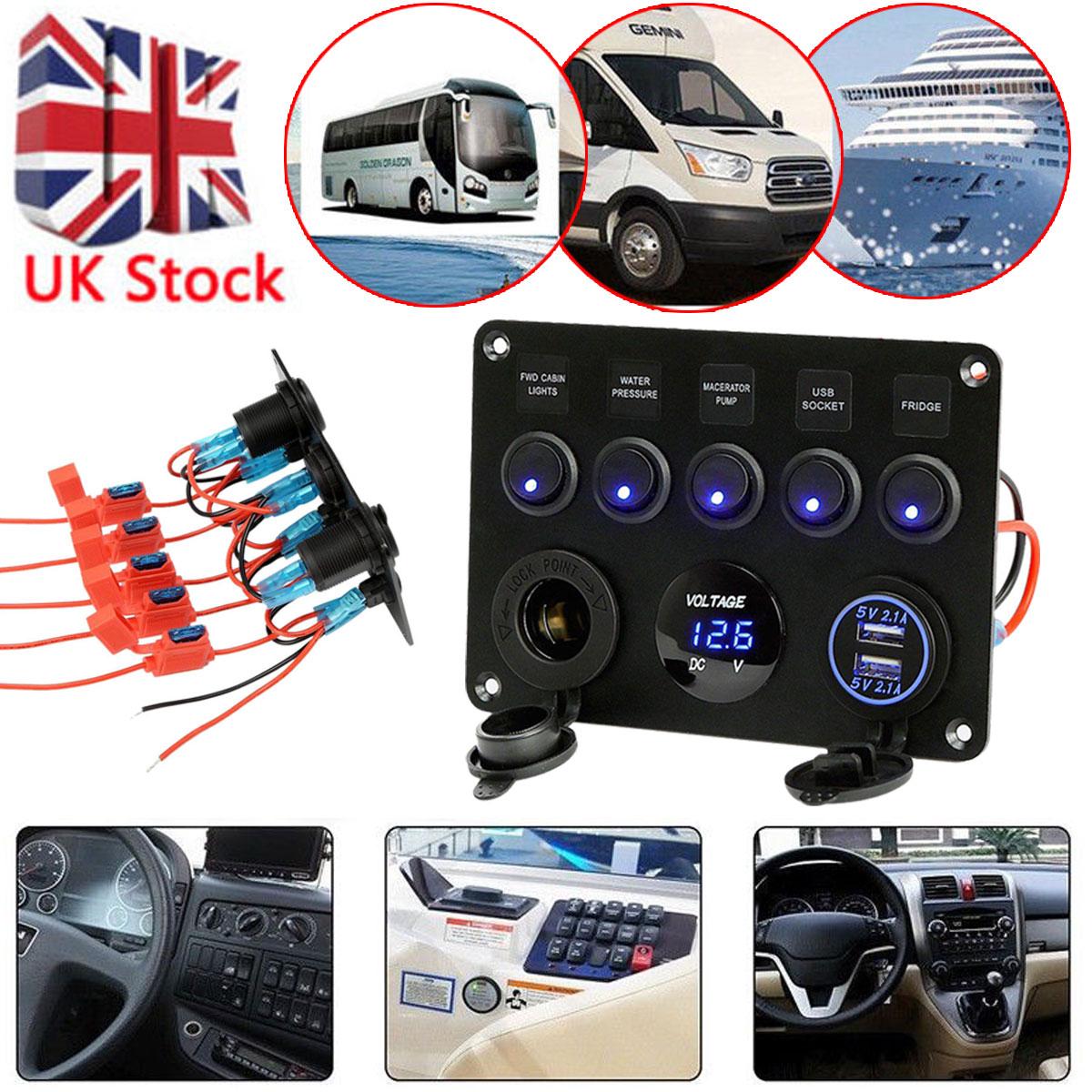 Inline Fuse Circuit Breaker Led Rocker Switch Panel Usb Charger Port Car Box 2 Socket Boat 12 24v Dc