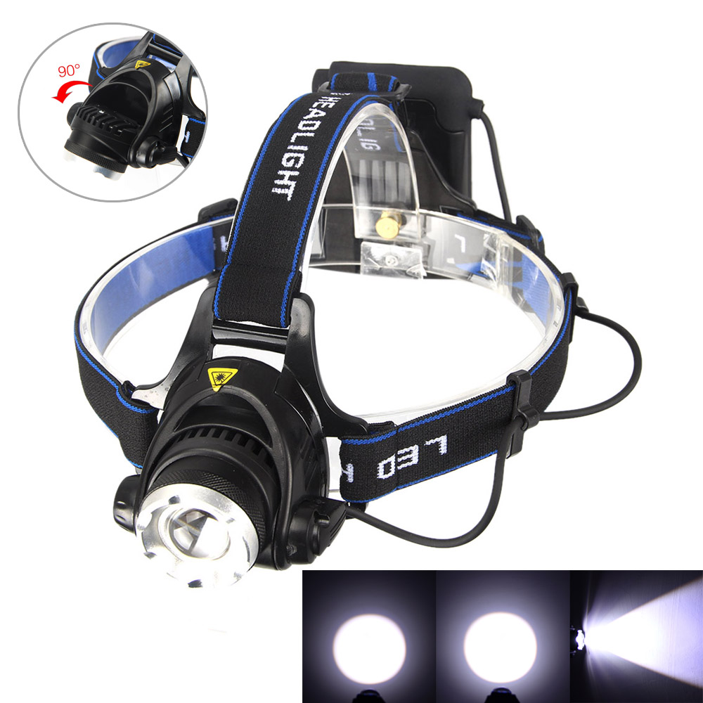 Vander headlamp 8000LM XM-L T6 Headlight 3 Modes Military+18650 Battery+Charger
