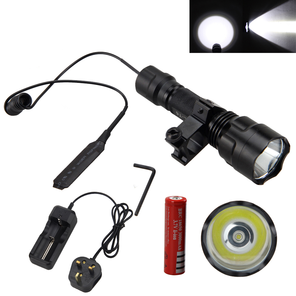 Tactical 1-Mode 5000LM White XML T6 LED Flashlight Torch Lamp+Pressure Switch