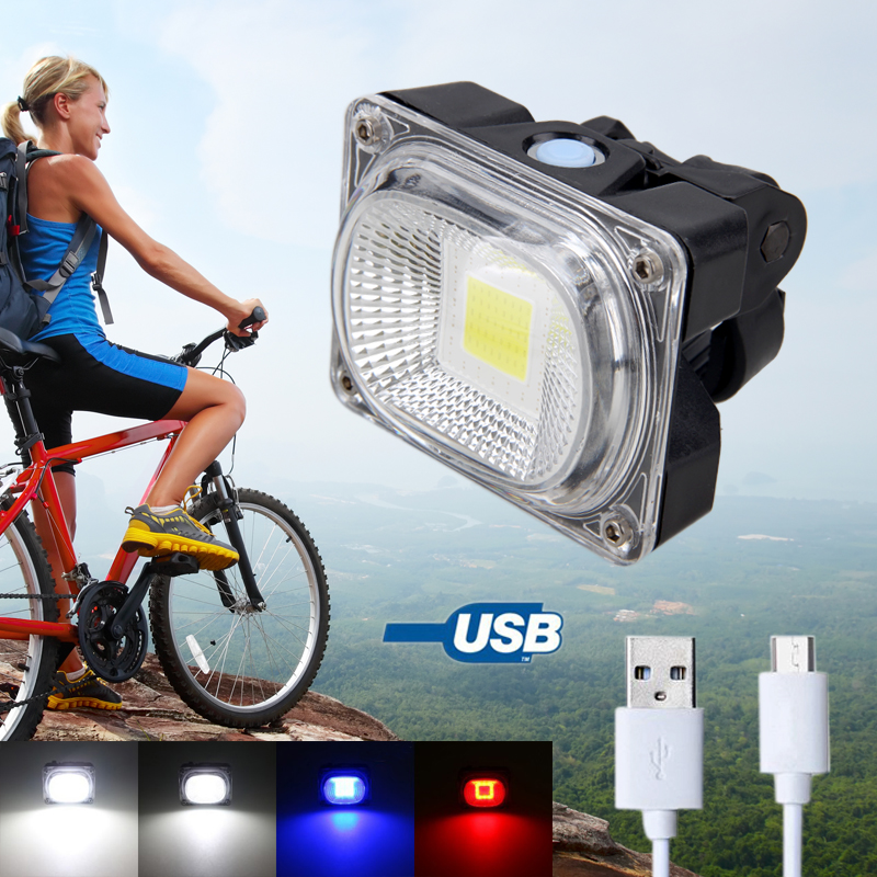 COB LED USB Rechargeable Bicycle Light 20W 500Lm Bike Rear Back Lamp Battery Hot