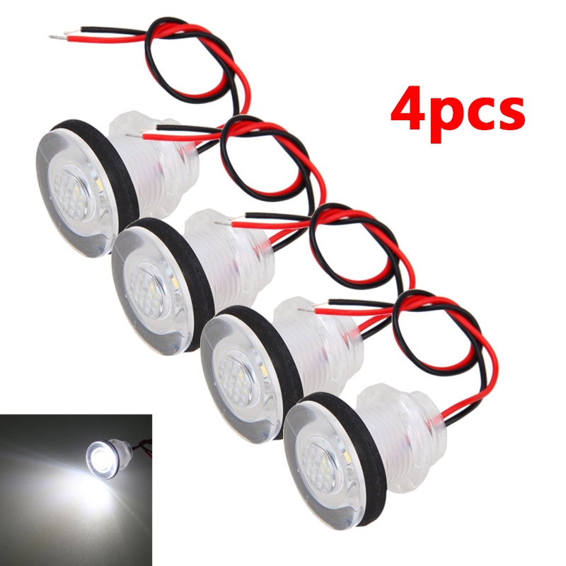 4PCS Marine Boat RV LED Courtesy Boat Lamp Stair White Light Waterproof DC 12V