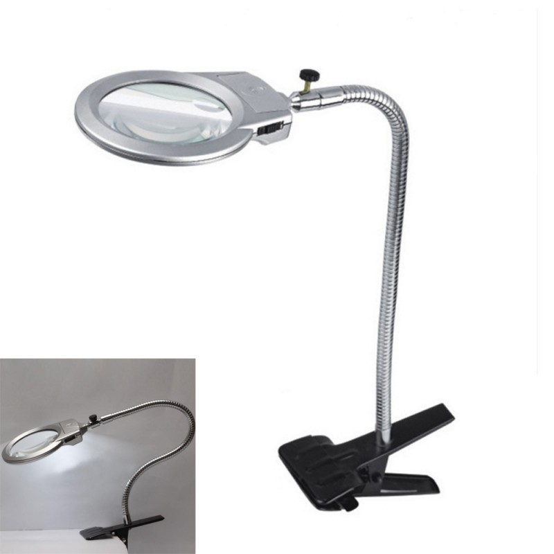 Magnifying Gl Clamp On Table Desk Lamp Led Light Magnifier Jewelry Tool Coin