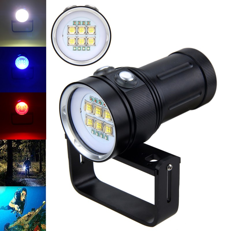 SCUBA 6xSSC-P7+4xR+4xB Diving 100m 20000LM 6xSSC-P7+4xR+4xB SCUBA LED Photography Video Flashlight Lamp 0ba4fe
