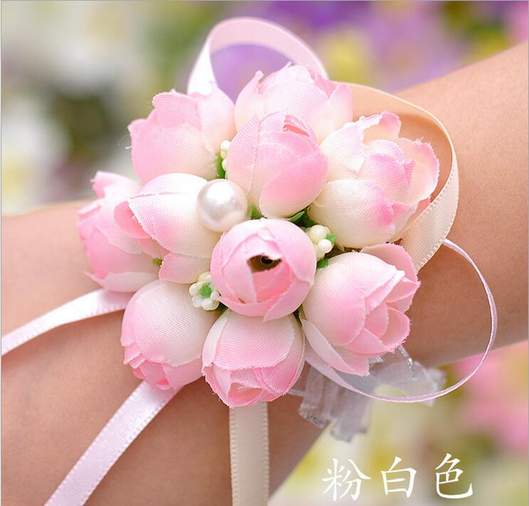 Delicate Wrist Corsage Bracelet Bridesmaid Sisters Hand Flowers Wedding Party