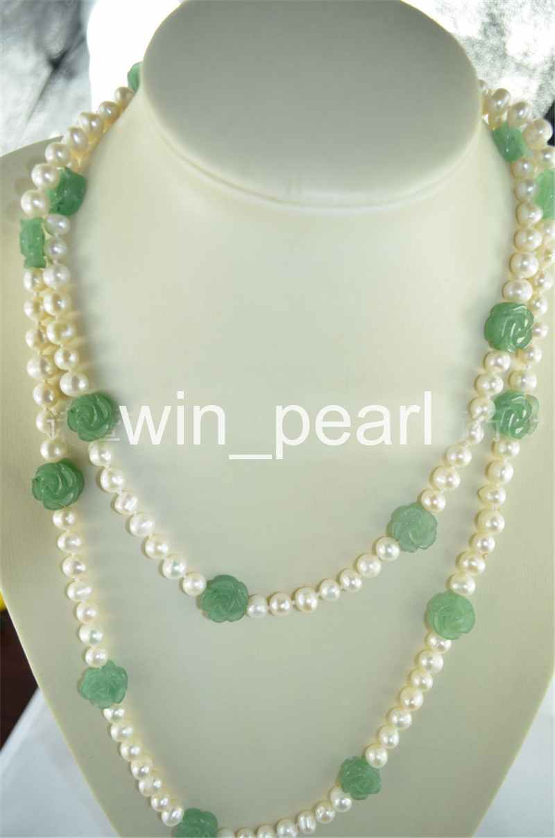 White 7 8mm Cultured Freshwater Pearl Green Jade Flower Necklace 50