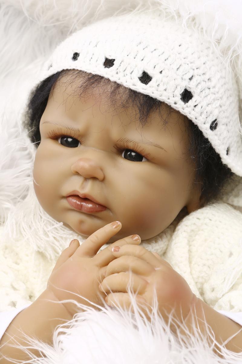 Details about 22handmade reborn newborn doll african american silicone vinyl black baby toy