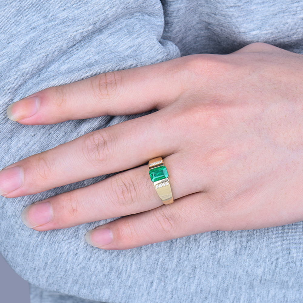 1.44Ct Green Emerald 14K Yellow Gold Natural Diamond Engagement ...
