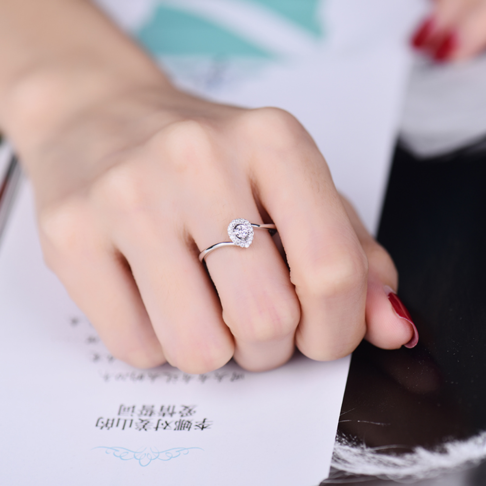 New Jewelry Real 18K White Gold Brilliant Diamond Engagement Wedding ...