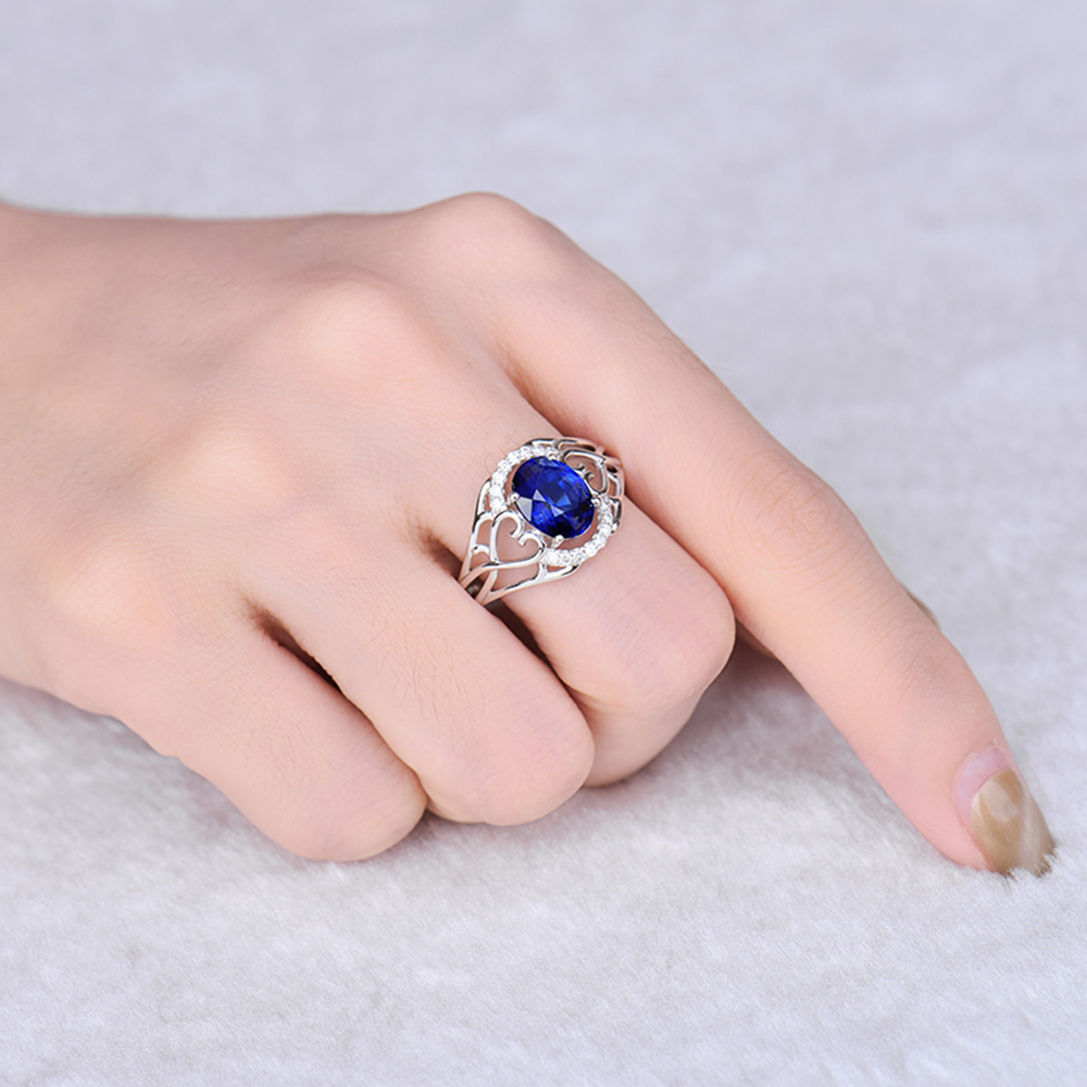 Noble Jewelry Solid 14K White Gold Diamonds Oval 6x8mm Blue Sapphire ...