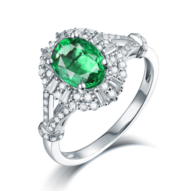 Sparkle! 14K White Gold Colombia Emerald Diamond Wedding Women\'s ...