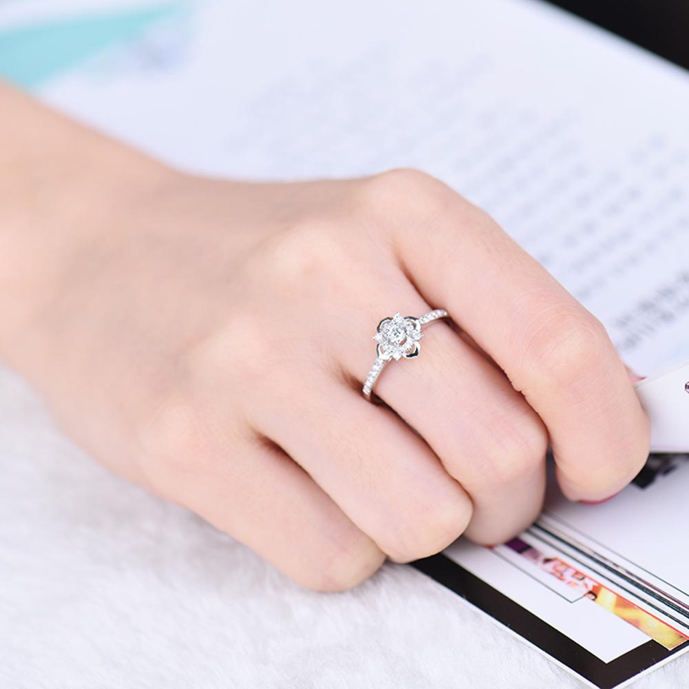 Beautiful Jewelry 18K White Gold Natural Brilliant Diamond Wedding ...