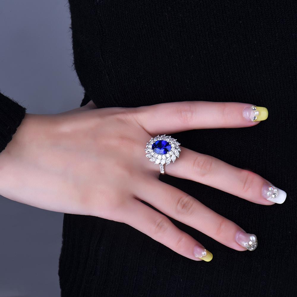 Luxury Design Jewelry 14kt White Gold Natural Diamond Blue Sapphire ...