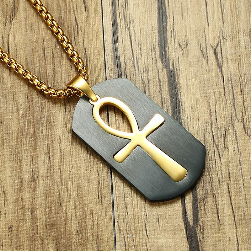 Amovible Ankh Égyptien Croix collier pendentif Dog Tag prière acier inoxydable