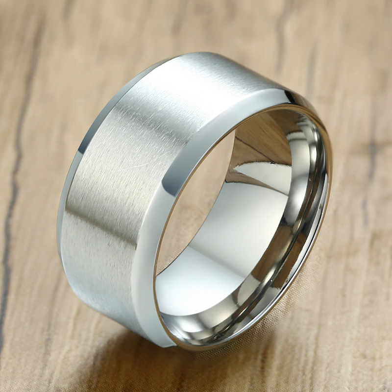 10mm Black Brushed Stainless Steel Engagement Band Men/'s Wedding Ring Size 9-12