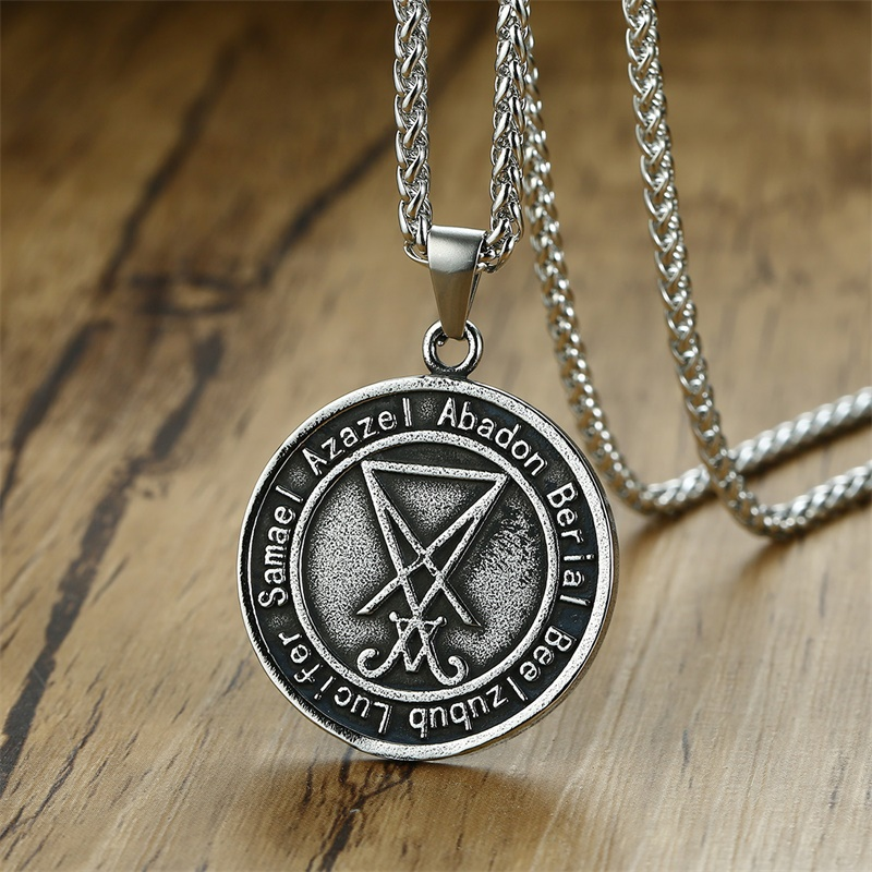 Retro Sigil of Lucifer Men Pendant Necklace Pagan Occult
