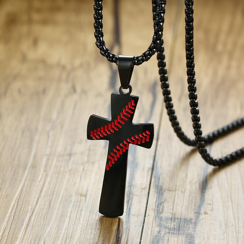 Silver Necklace Pendant Baseball Cross Stitching Bible Verse PHILIPPIANS 4:13