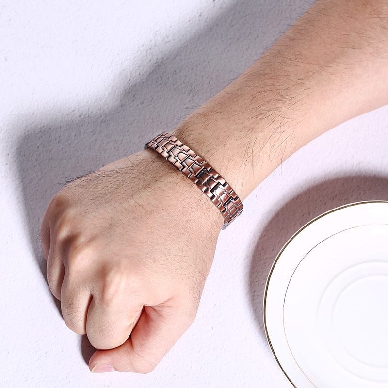 Men Healthy Copper Magnetic Therapy Bracelet 2200-2500gs Power Grandfather Gift