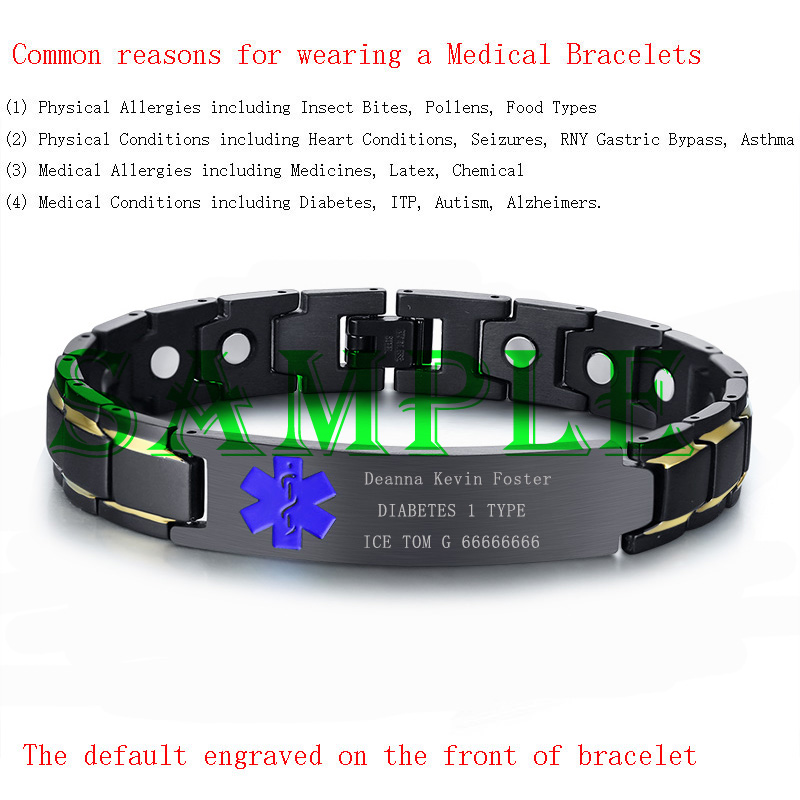 Black Medical Alert Id Men Bracelet Chain Health Magnetic Therapy Free Engraving