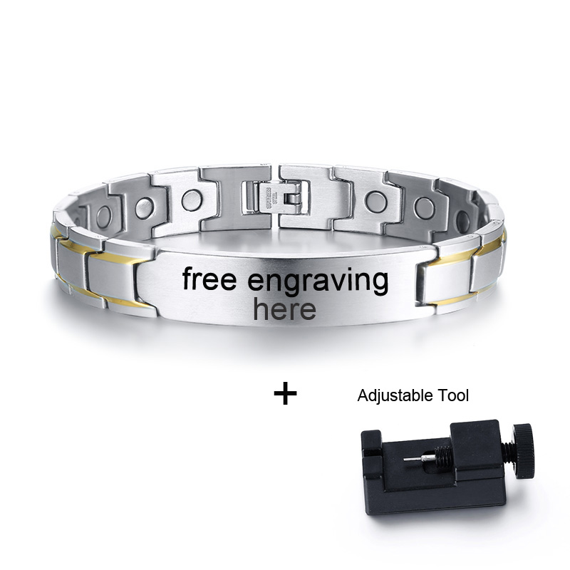 41ac041e3dafd Details about Men Health Care Magnet Therapy Bracelet Bio Energy Chain Personalized  Engraving