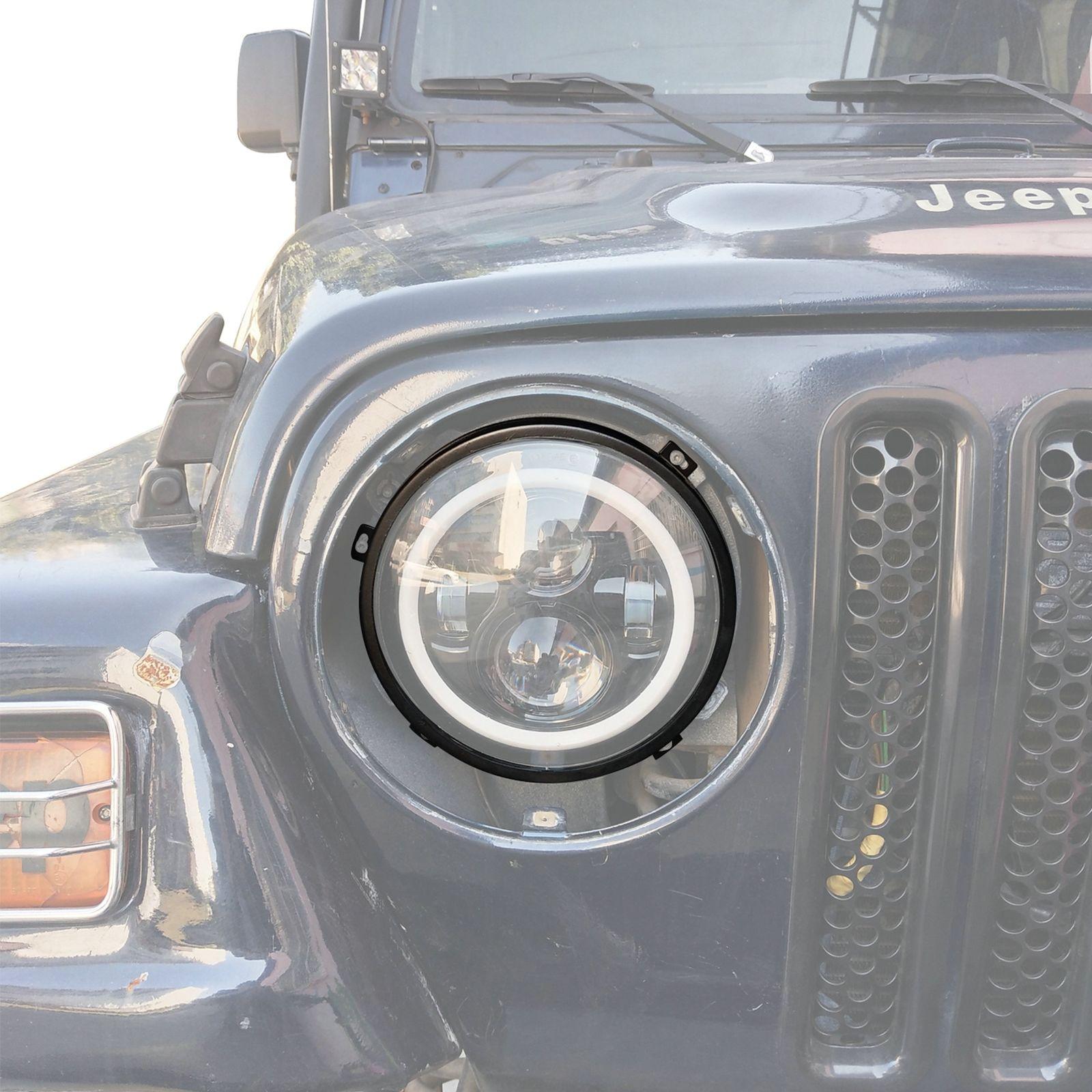 One New Chrome Headlight Retaining Ring 1997 to 2006 Jeep Wrangler Tj X 12420.02