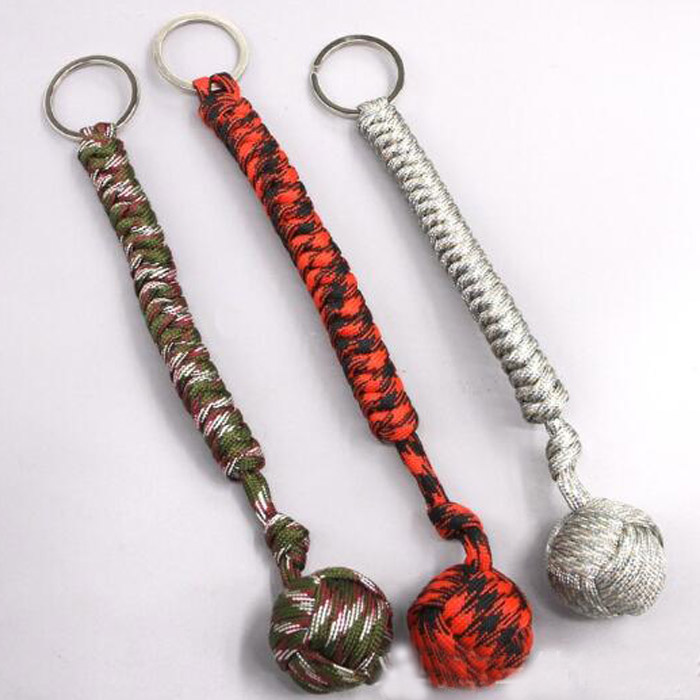 Monkey Fist Paracord Keychain Chain Keyring MilitarySteel Ball Survival Outdoor