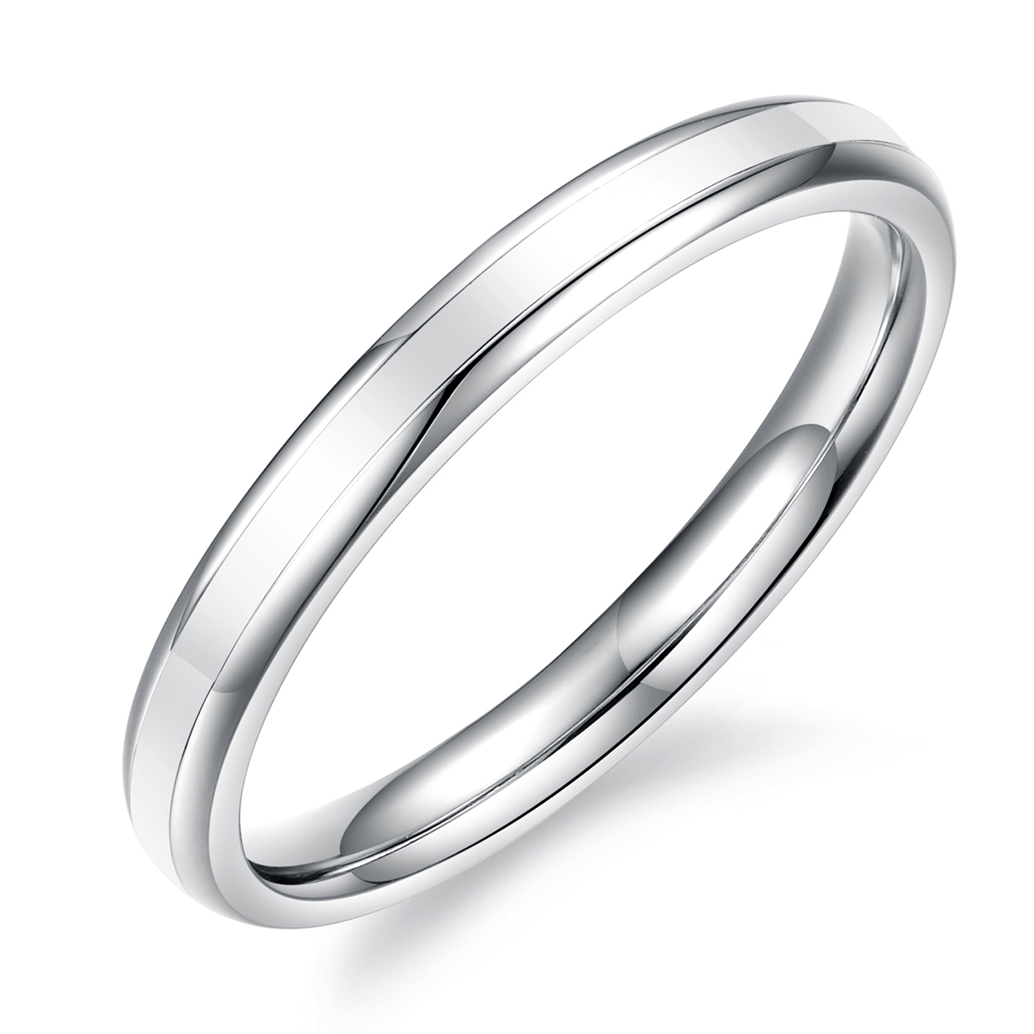 Womens Girls Two Tone Stainless Steel Thin Finger Ring 2mm Epoxy