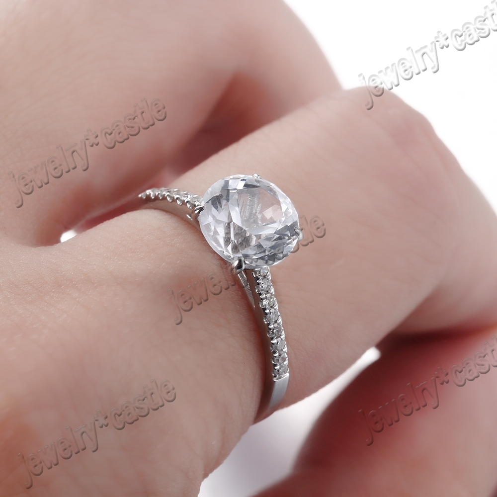 SOLID 18K WHITE GOLD ROUND CUT WHITE TOPAZ PAVE DIAMONDS ENGAGEMENT ...