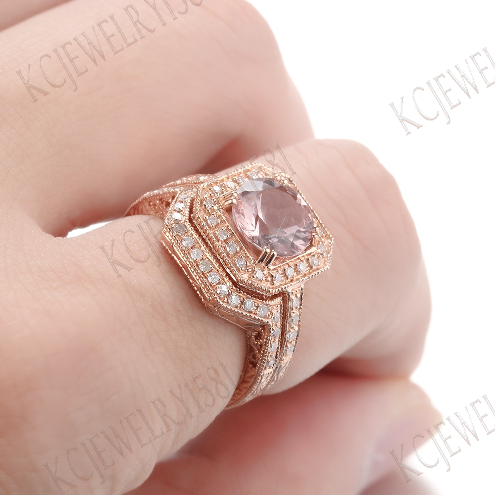 10K Rose Gold 8mm Round Pink Morganite & Diamonds Wedding Ring Set ...