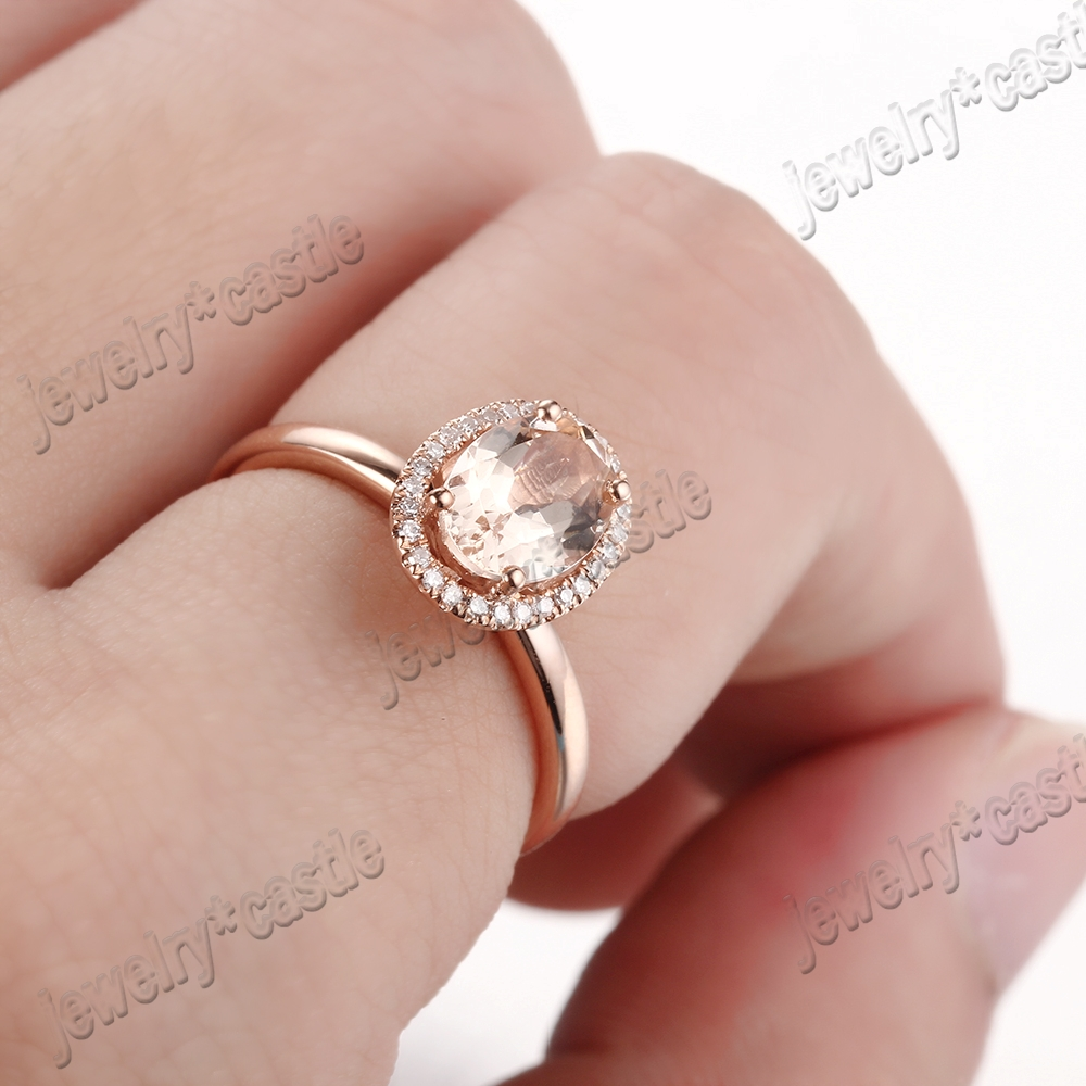 14K Rose Gold 8x6mm Oval Pink Morganite Natural Diamonds Engagement ...