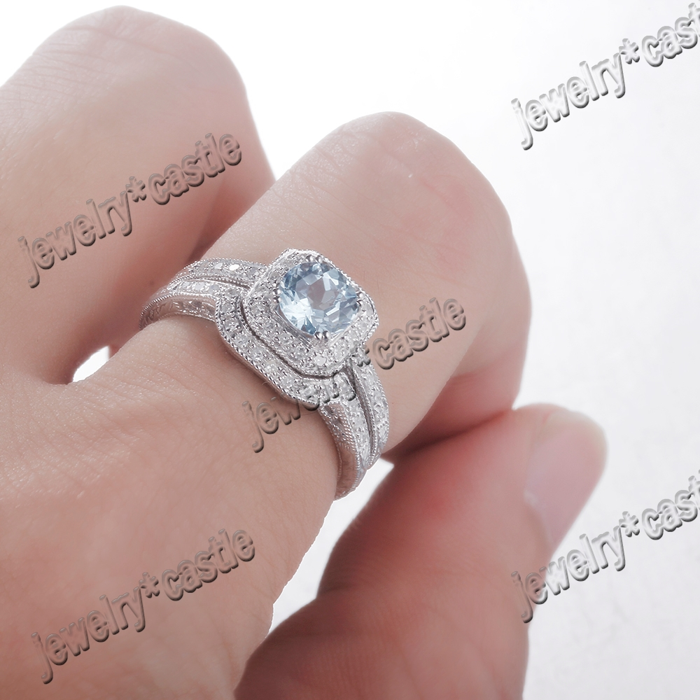 New Sky Blue Topaz & Diamond 14K White Blue Engagement Wedding ...