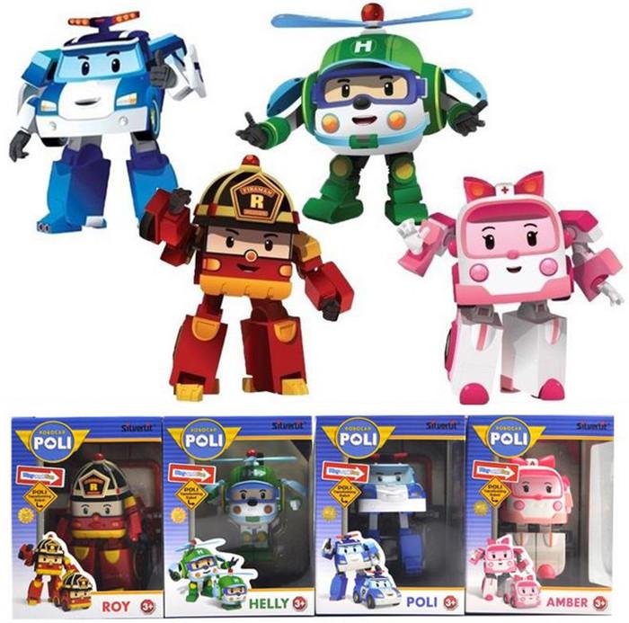 4pcs robocar poli poli roy amber helly robot toys kids educational toy gift ebay - Robocar poli ambre ...