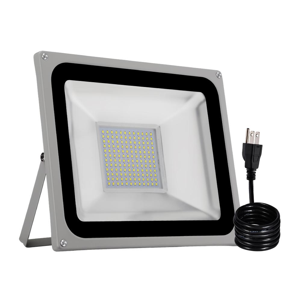 2X 100W LED Flood Light SMD Outdoor Lamp Warm White With US Plug Spotlight IP67