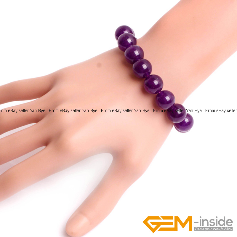 Wholesale-Lot-Handmade-Fashion-Jewelry-Assorted-Colors-Beaded-Jade-Bracelet-7-5-034 thumbnail 43