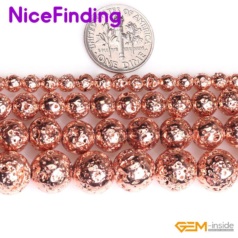 Round Rose Gold Metallic Coated Volcanic Lava Rock Stone Beads Jewelry Making 15