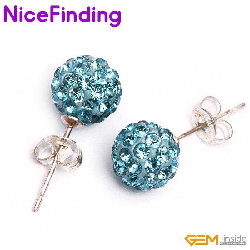 73ddd8667 6,8,10mm Clay Rhinestone Crystal CZ Pave Disco Ball Stud Earrings Jewelry  Gifts