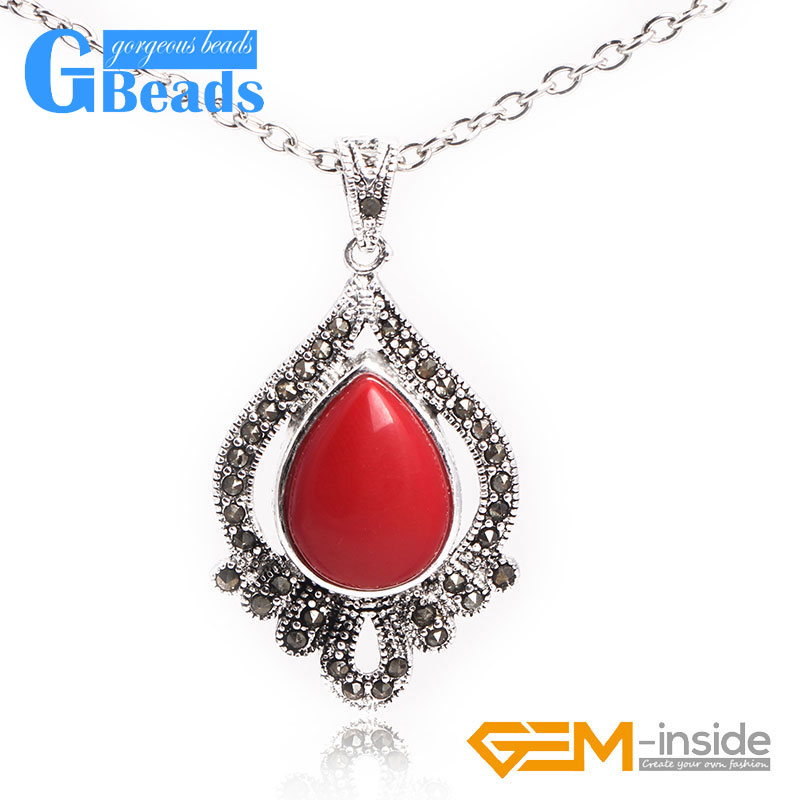 12mm round beads Marcasite silver pendant 12x24mm FREE gift box necklace chain