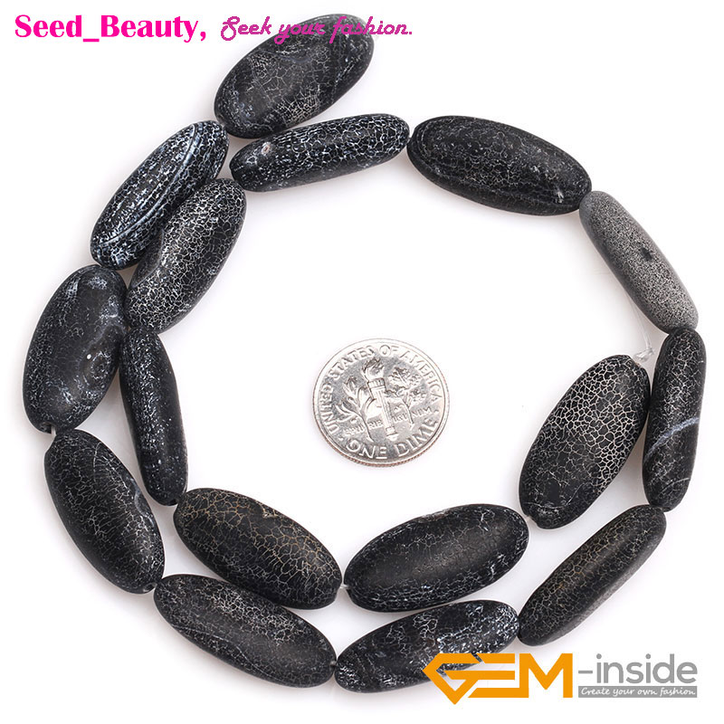 """Natural Oval Frosted Black Agate Beads For Jewelry Making Strand 15/"""" Wholesale"""