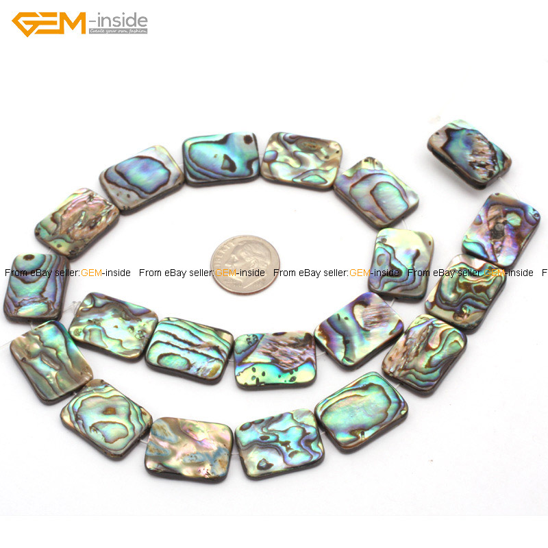"""Natural Flat Rectangle Abalone Shell Beads Loose Gemstone for Jewelry Making 15/"""""""