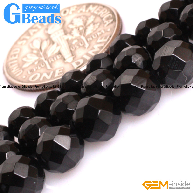 """Natural Grade AAA Black Spinel Gemstone Round Beads For Jewelry Making 15/""""Strand"""