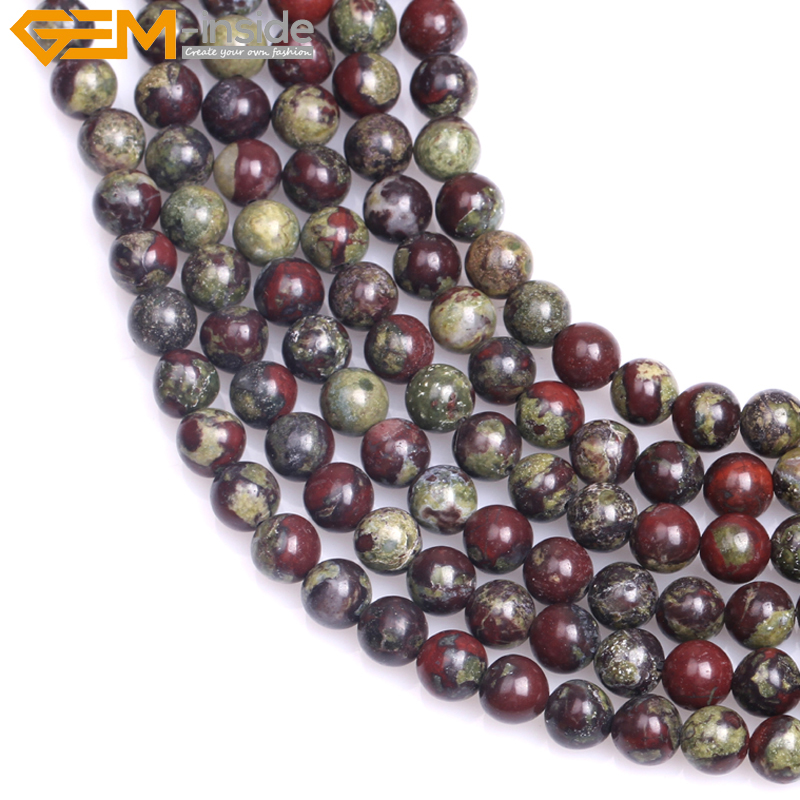New Natural Round Green Red Australia Blood Jade Beads Jewelry ...