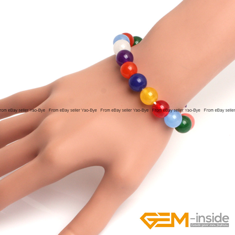 Wholesale-Lot-Handmade-Fashion-Jewelry-Assorted-Colors-Beaded-Jade-Bracelet-7-5-034 thumbnail 105