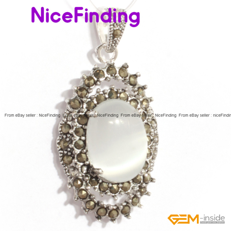 Hot 20x40mm Fashion Women Jewelry Oval Beads Marcasite Silver Pendant+Free Chain